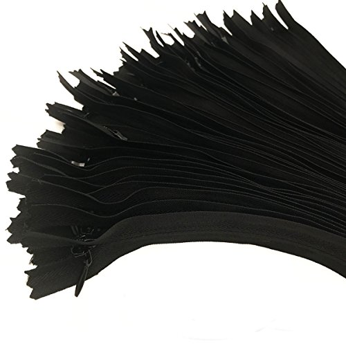 40PCS Nylon Invisible Zipper Tailor DIY Sewing Tools for Garment/Bags/Home Textile(9 inch,Black) ()