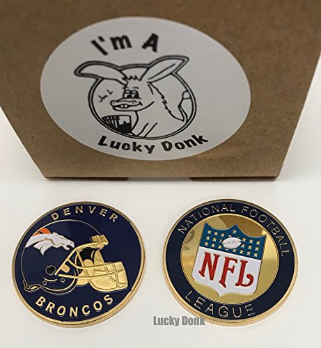 American Football Team Challenge Coin Denver Broncos Poker Card Marker Collectible plus display case, and Free Sticker by Lucky Donk (Football Coin)