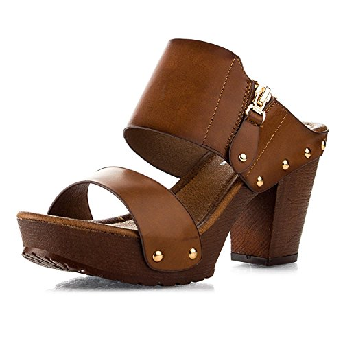 Women's Chunky Platform Heel Sandals Block High Heel Slide Studded Slip on Summer Holiday Shoes VT03 Tan 9 ()