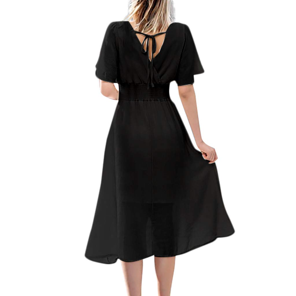 Nadition Fashion Chiffon Dress ✨Women Cross V-Neck Solid Short Sleeve Dress Flowy Ruched High Elastic Waist Loose Dress Black