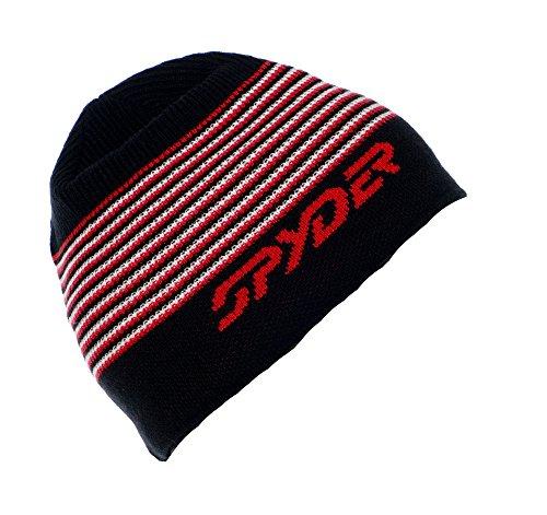 Spyder Men's Upslope Hat, Black/Volcano/White, One (Spyder Mens Logo Cap)