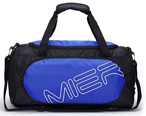 MIER Gym Bag Sports Duffel for Men and Women with Shoe Compartment, 25L (Blue)