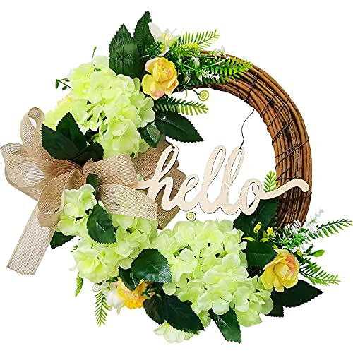 Wreaths for Front Door, Artificial Gift Hello Round Garland Placed Decorative Door Wall-Mounted Ornaments ,for Living Room, Horizontal, Kitchen and Study Home Decoration