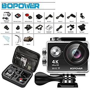 4K WIFI Waterproof Action Camera, GooBang Doo Bopower B1W Waterproof Sport Action Camera with 170 Degree Ultra Wide Angle Lens, 2.4G Wireless RF Controller, Multiple Mount Accessories