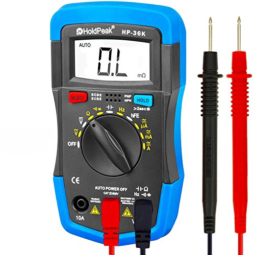 HOLDPEAK 36K Auto-Ranging Digital Multimeter Multi Tester, Blue