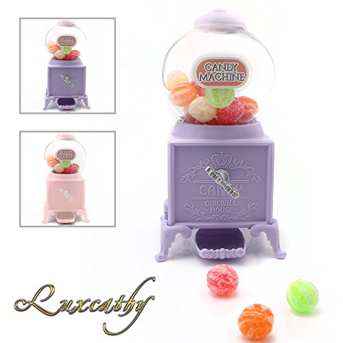Luxcathy Gumball Bank Candy Dispenser Vending Machine for Party, Candy/Chocolate/Jelly Bean Storage, Gift - 7.2'' Height 3'' Wide (Purple) by Luxcathy