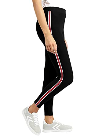 a15d9b6968a012 Shocknshop Red & White Side Stripe Ankle Length Women Girls Teenagers  Leggings Black -(LEG17BLACK): Amazon.in: Clothing & Accessories