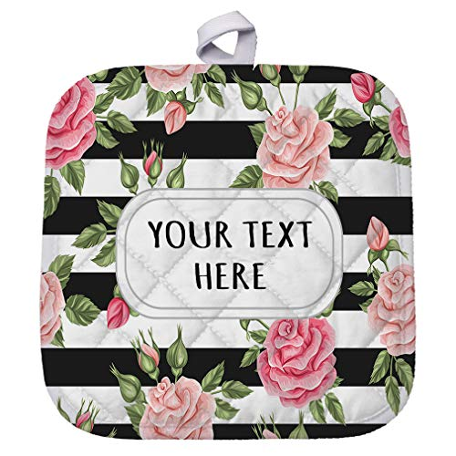 Polyester Pot Holder Custom Pink Roses with Stripes Seemless Pattern Adults Trivets