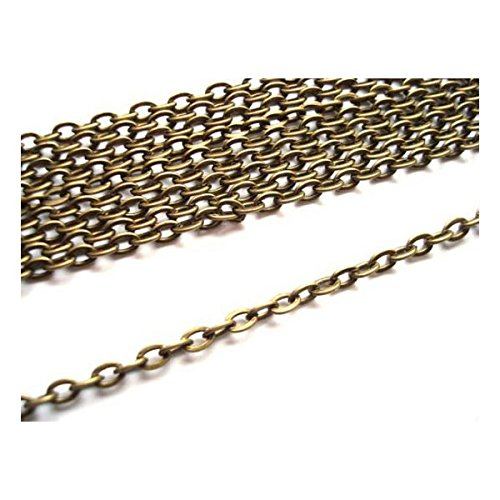 2 Metres Antique Bronze Colour Colour Oval Cable Chain 2x3mm by Bead Boutique Bead-boutique
