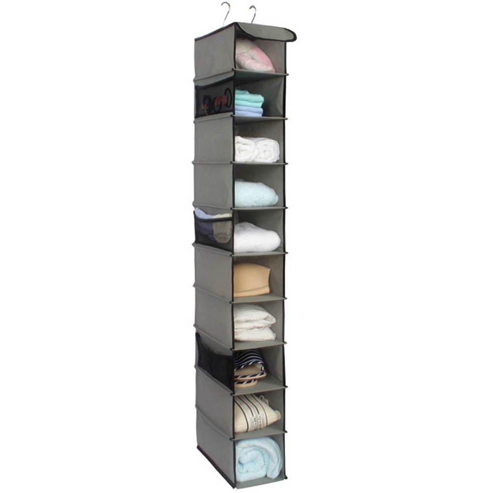 Wisenovo Home Hanging Clothes Storage Box (10 Shelving Units), Foldable Closet Organizer,collapsible Breathable Hanging Shelves Closet Cubby, Sweater Handbag Organizer-Gray