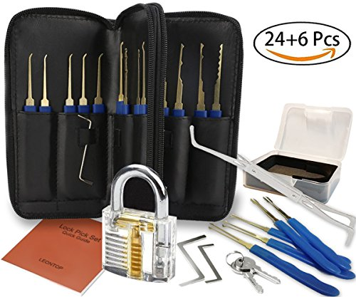 Lock Pick Set, Practice Lock, 30 Piece Picking Tools, Mechanics of Locks, Deluxe Transparent Clear Crystal Keyed Padlock with Crevice Pick, Lockpicking Extractor Tool for Learning Beginner Locksmiths