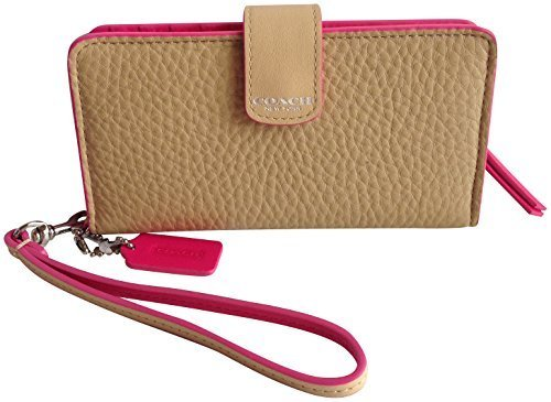 Coach Bleecker Leather Edgepaint Phone Wallet 62273 Camel Pink Ruby by Coach