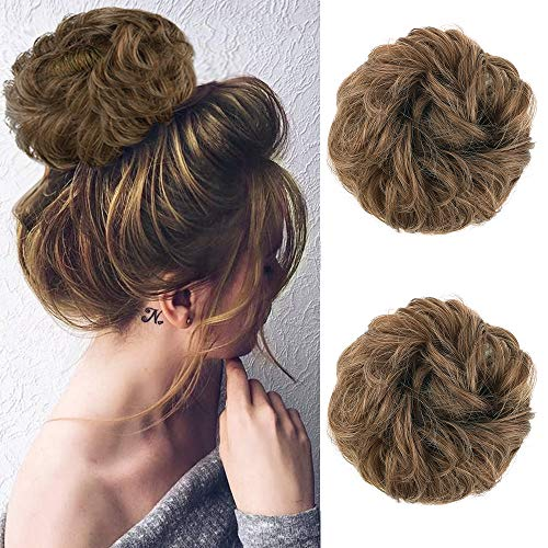 MORICA Messy Hair Bun Extensions 2PCS Curly Wavy Messy Synthetic Chignon Hairpiece Scrunchie Scrunchy Updo Hairpiece for women(Color:12/24#)