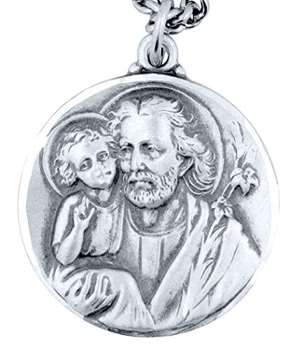 Creed Men's Sterling Silver Saint St Joseph The Worker Patron Saint Medal, 1 Inch