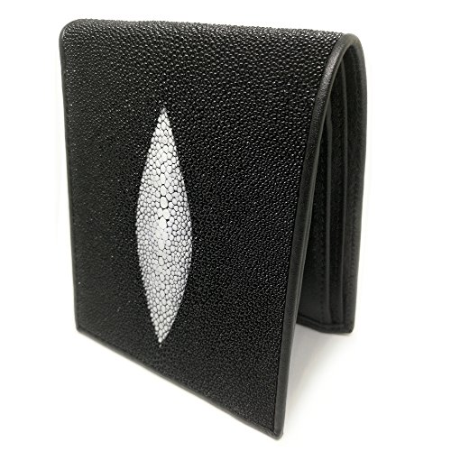 Stingray Bi-Fold Genuine Leather Simple Plain Black Color Wallet - Black ()