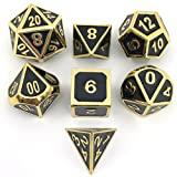 Shiny Gold w/Black Metal Enamel Dice D4 D6 D8 D10 D% D12 D20 for Dungeons and Dragons RPG Dice Gaming with Free Drawstring Pouch