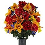 Fire-Red-Peony-and-Orange-Tiger-Lily-Mix-Artificial-Bouquet-featuring-the-Stay-In-The-Vase-Designc-Flower-Holder-LG2145