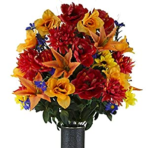 Ruby's Silk Flowers Fire Red Peony and Orange Tiger Lily Mix Artificial Bouquet, Featuring The Stay-in-The-Vase Design(c) Flower Holder (LG2145) 82