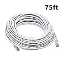 PrimeCables® White High Quality Cat6 550MHz UTP RJ45 Ethernet Bare Copper Network Cable (75ft)