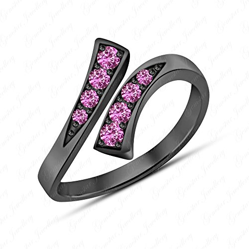 Gemstar Jewellery Fashion Jewelry 14K Black Gold Finish Round Shape Pink Sapphire Adjustable Toe Ring