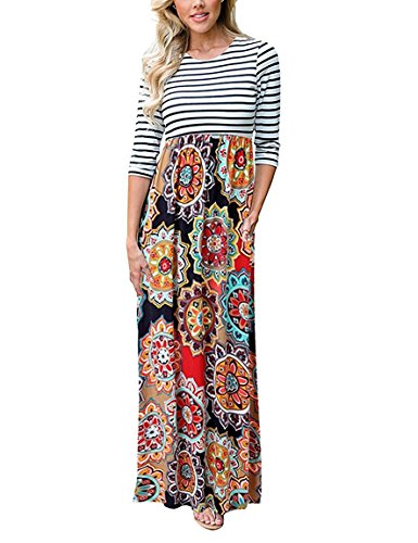 (ThusFar Women's 3/4 Sleeves Floral Printed Maxi Dress Summer Casual Party Beach Long Dress Floor-Length Dress Sunflower XL)