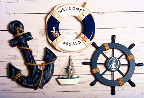 WOODEN NAUTICAL LIGHTHOUSE ANCHOR WALL HANGING ORNAMENT, BEACH WOODEN BOAT SHIP STEERING WHEEL WALL DECOR, NAUTICAL LIFE RING WALL AND DOOR HANGING ORNAMENT PLAQUE, WELCOME ABROAD LIFE RING Wall DÉCOR
