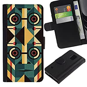 KingStore / Leather Etui en cuir / Samsung Galaxy S5 V SM-G900 / Deco Cara Gafas Resumen Orden 1984