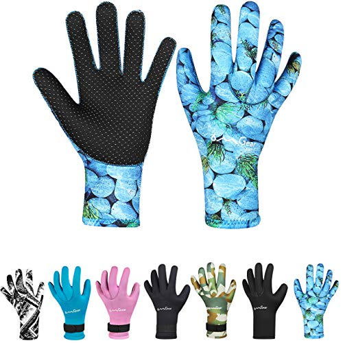 Neoprene Scuba Gloves - OMGear Neoprene Gloves Diving Wetsuit Gloves 3mm Glued Anti-Slip Flexible Thermal with Adjustable Waist Strap for Snorkeling Scuba Diving Surfing Kayaking Rafting Spearfishing Sailing (3mm camo3, S)