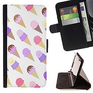 King Art - Premium-PU-Leder-Prima caja de la PU billetera de cuero con ranuras para tarjetas, efectivo Compartimiento desmontable y correa para la mu?eca FOR HTC Desire D816 816 d816t- Ice Cream Summer