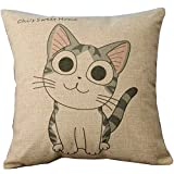 Cartoon Style Lovely Cat Chi's Sweet Home Crooked Neck and Smile Chi's Throw Pillow Case Decor Cushion Covers Square 18*18 Inch Beige Cotton Blend Linen