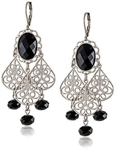 1928 Jewelry Silver-Tone Black Crystal Filigree Drop Earrings