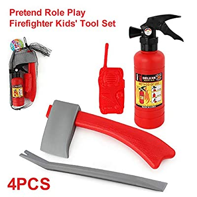 CCGTOY Little Kids' Fireman Set Pretend Role Play Firefighter Gifts for Kids 4pcs: Electronics