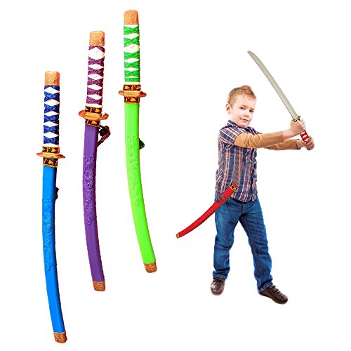 Cheap Samurai Costumes (Toy Cubby Plastic 24 Inches Samurai Katana with Cloth Wrapped Handles - 4 Pieces)