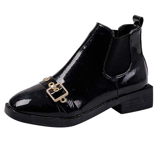 709ffbfc5490c1 Damen Schuhe Mädchen Schnallen Schwarz Lackschuhe Flach Western Stiefel  Martin Stiefel Wild Freizeitschuhe Kurze Stiefel