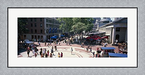Tourists in a market, Faneuil Hall Marketplace, Quincy Market, Boston, Suffolk County, Massachusetts, USA by Panoramic Images Framed Art Print Wall Picture, Flat Silver Frame, 35 x 17 - Faneuil Boston Marketplace Hall