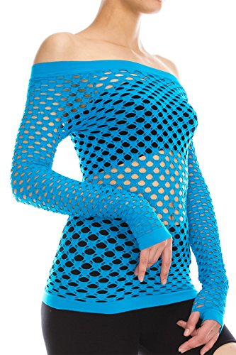 Kurve Stretchy Fishnet Long Sleeve Top, UV Protective Fabric, Rated UPF 50+ (Made With Love In The USA) One Size (Xs-Med) Turquoise -