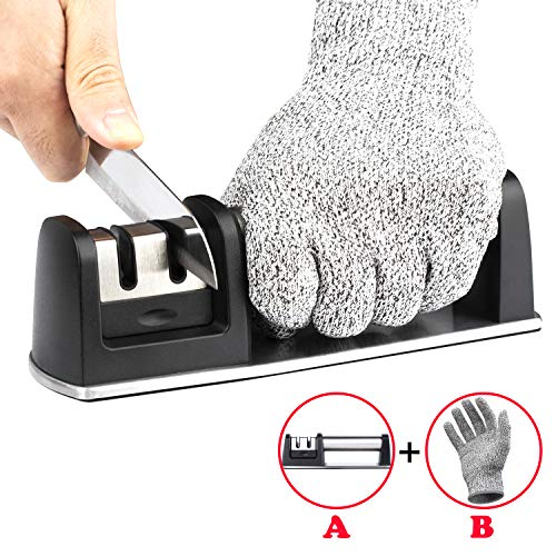 VODKE Kitchen Knife Sharpener, Manual Stainless Steel Knife Sharpening Tool Cut-Resistant Glove Helps Repair, Restore and Polish Blades for Straight and Serrated Knives, Ceramic and Tungsten