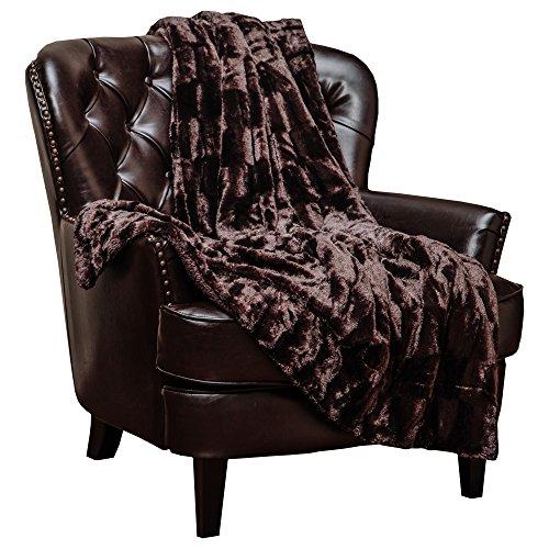 Rectangular Plush (Chanasya Super Soft Fuzzy Faux Fur Elegant Rectangular Embossed Throw Blanket | Fluffy Plush Sherpa Cozy Microfiber Coffee Blanket for Bed Couch Living Room Fall Winter Spring (50