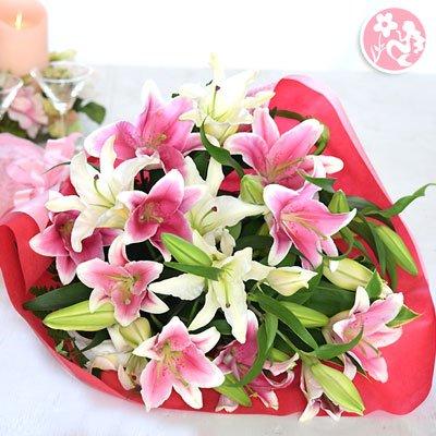 カサブランカとピンクゆりの花束 花 フラワー ギフト 紅白 B01C87Y0NK  ラッピング:グリーン系