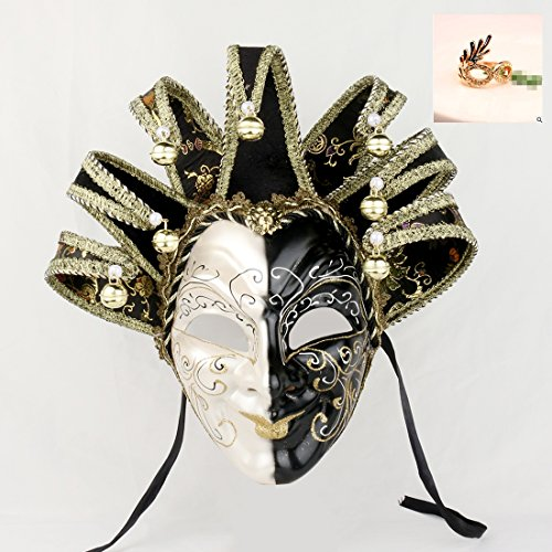 YUFENG New Orleans Mardi Gras Black White Bell Mask Jester Costume Parades Carnival Ball (Venetian Carnival Mardi Gras Mask)