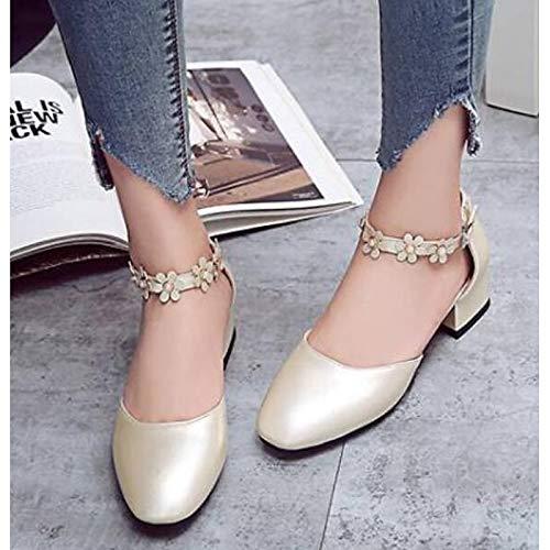 Poliuretano Negro Verano Zapatos Grueso de Confort de Mujer Tacón Gold ZHZNVX Plata PU Tacones Rosa PIFwZqxU