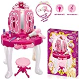Denny International Deluxe Girls Pink Musical Dressing Table Vanity Light Mirror Play Set Toy Glamour Make Up Desk With Stool