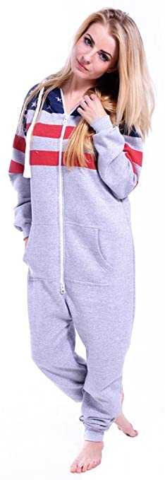 c99c39392f Amazon Womens Onesie Fashion Playsuit Ladies Jumpsuit Us-Half Gray S Womens  Adult Size Hooded Fleece ...