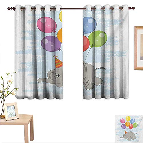 (Superlucky Elephant Nursery Drapes for Living Room Funny Flying Mammal with Colorful Balloons and Party Hat Comic Artwork 63