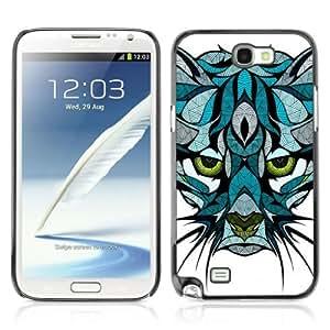 YOYOSHOP [Beautiful Mountain Cat Tattoo Illustration] Samsung Galaxy Note 2 Case