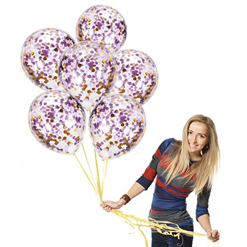 Shy Violet - 12 Inch Purple Confetti Balloons Ft. Gold Round Confetti, Lavender, Violet Purple Confetti, Clear Latex Balloon | Top Quality Baby Shower, Frozen, Unicorn Party Decor (Purple Theme A, Prefilled 12pcs)