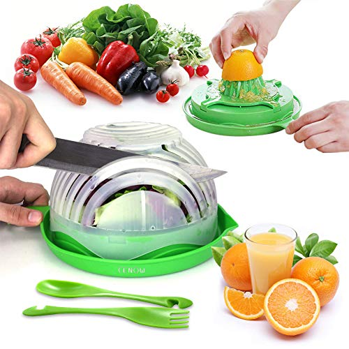 (Salad Cutter Bowl, Upgraded Salad Chopper Bowl with Juice Maker and Deeper Sink, Fruit Vegetable Cutter Bowl Equipped spoon and fork, Food Grade Fast Fresh Salad Maker)