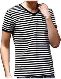 Retro Men's Boys V-Neck Fit Striped T Shirt Fashion Pajama Tee