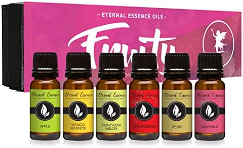 Fruity Gift Set of 6 Premium Grade Fragrance Oils - Apple, Mango Madness, Honeydew Melon, Strawberry, Pear, Grapefruit - 10Ml - Scented Oils