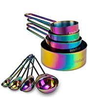 WELLSTAR Measuring Cups and Spoons Set of 8, Food Grade 18/8 Stainless Steel Measure Set for Dry Liquid Measurement, Rainbow Titanium Coated Kitchen Gadgets for Cooking Baking, 4 Cup and 4 Spoon